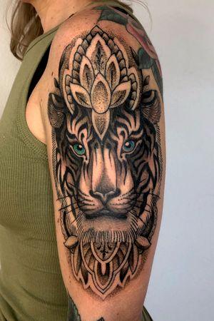 Tiger and decorative designs