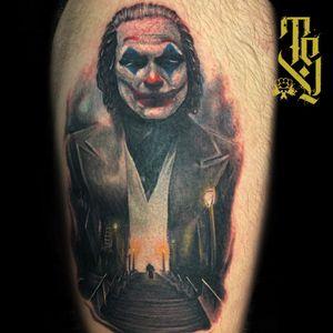 The joker movie themed tattoo #Joker #movie #realism #belfast #northernireland #movietattoos #jokermovie