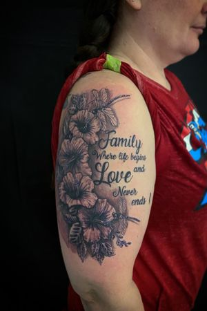 Family is everything, awesome session with @perfectangelx ... to be continued! #rashatattoo #pentictontattoostudio #pentictoninked #hibiscustattoo #scripttattoo #dragonflytattoo #tattoosociety #tattoostyle #tattoosnob #tattoosp #tattoosocial #tattoosofig #tattooselection #tattoospecial