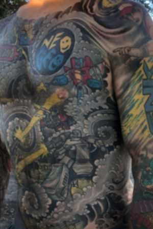 Transformers body suit by Heath Whitten at Hero Tattoo in Conway SC #80s #cartoons #cartoontattoo #comics