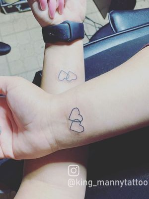 Matching hearts tattoo  #love #friendship #forever #matching #heart #hearttattoo #simple #outline