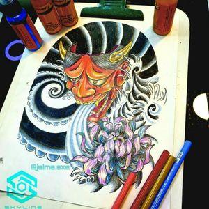 "[TATTOO DESIGN] (Diseño disponible) ""Máscara Hannya"" Estilo tradicional japonés Full color. Diseño propio Artista: FB/INSTA: @jaime.sxe #SkylineStudio #TattooDesign #CreateYourself"