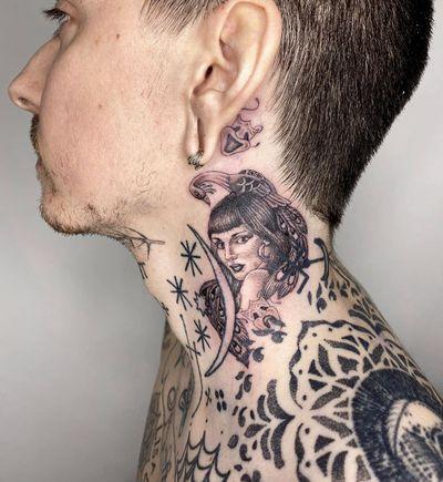 Neck tattoo by Nick Rose #NickRose #necktattoo #portrait #lady #moon #peacock #mask #behindeartattoo #chicano #oldschool #illustrative #blackandgrey