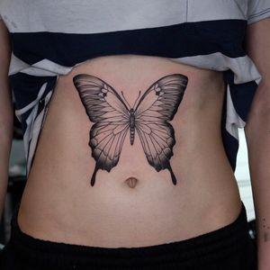 Butterfly tattoo by Paula J Davey #PaulaJDavey #butterfly #illustrative #stomachtattoo