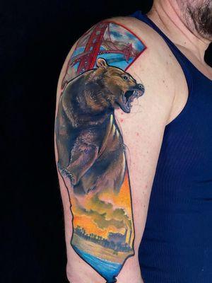 California Love #california #calitattoo #bayareatattoo #goldengatebridge #socaltattoo #grizzlybear #grizzlybeartattoo #Beartattoos #beartattoo #neotraditionaltattoo #neotraditionaltattoos #colortattoo #colortattoos