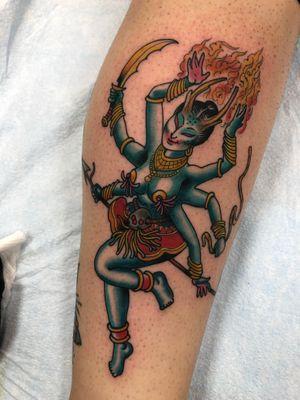 Tattoo by Tom Connors #traditional #hindu #deity #durga #shiva #fire