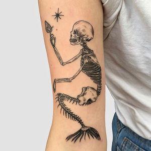 Mermaid #skeletontattoo #mermaid