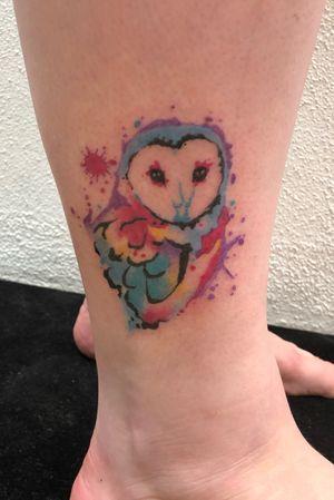 Watercolour owl piece #owltattoo #watercolourtattoo