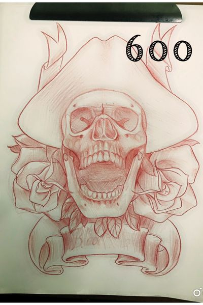 #skull #roses #pirate #neotraditional