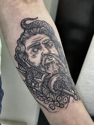 🧜🏻♂️ Poseidon Sígueme en Instagram como @dhana.erika.flan . . . . #ink #inked #tattoo #art #artwork #digitalart #illustration #draw #drawing #blackwork #nice #on #poseidon #poseidontattoo #tentacles #octopus #kraken #flandesign #inkMX