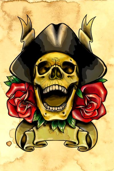 #skull #pirate #roses #neotraditional #flash