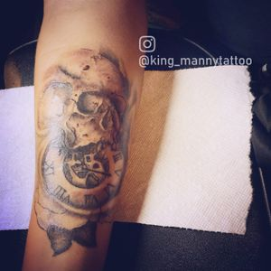 skull with clock and a rose tattoo #blackandgray #skull #realism #rose #pocketwatch skull clock roses  cool death time black and grey clock realism  skull pocket watch time gears inside rose  broken cool bad ass realistic clock insta: king_mannytattoo