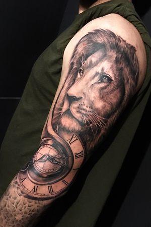 Leon, reloj y brújula