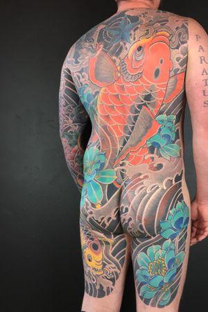 #koifish #backpiece #irezumi #japanese #lotus #bodysuit