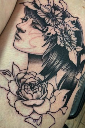 WIP #neotraditional #neotraditionaltattoo #neotraditionalwoman #femaletattoo #dallas #dallastx #dallastattooartist