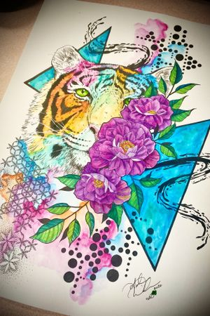 Abstract Watercolor Geometric Tiger and Floral available for tattoo!! #abstractart #watercolor #geometric #trashpolka #tiger #floral #staugustinetattooartist #floridatattooartist