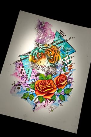 Abstract watercolor tiger and roses available for tattoo! #tigerart #roses #abstractart #watercolorart #geometricart #trashpolkaart #tiger #staugustinetattooartist