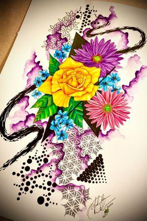 Abstract Watercolor Geometric Floral available for tattoo!! #abstractart #watercolorpainting #abstractwatercolor #geometric #dotwork #floral #floralart #trashpolka #staugustinetattooartist #floridatattooartist