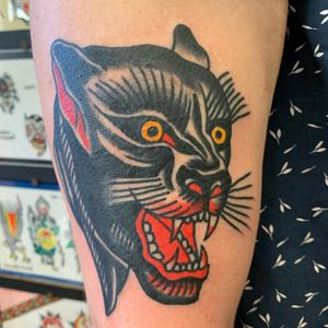 Panther  #AmericanTraditional #traditional #oldschooltattoo #pantherhead