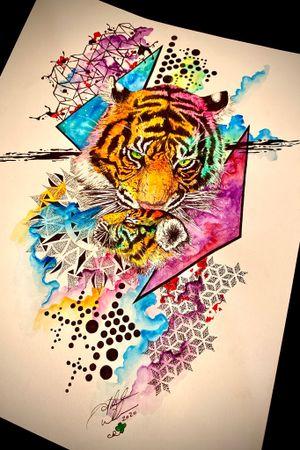 Abstract Watercolor Geometric Tiger and Cub available for tattoo! #abstractart #abstracttiger #tigerandcub #watercolorart #trashpolkaart #geometricart #staugustinetattooartist #floridatattooartist