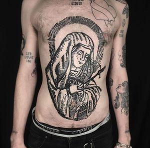 Virgin Mary engraving tattoo by Elliott Lane #ElliottLane #virginmary #engraving #illustrative #linework #stomach