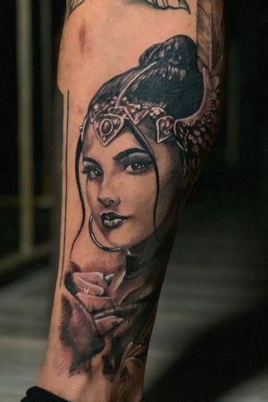 Realism Portrait on leg, headpiece with wings