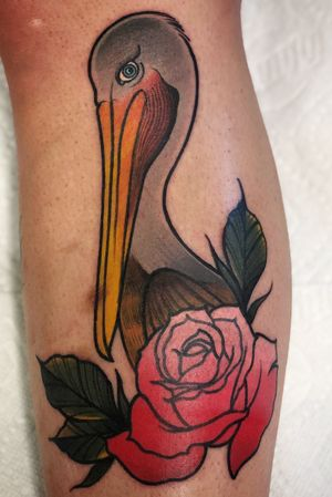 Got to do this fun pelican on my good buddy and long time client! Thanks for looking!! Message For Appointment information! #pelican #color #rose #neotraditional #traditional #sanjose #losangeles #