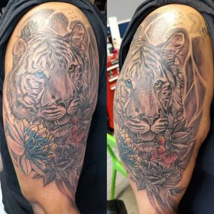 Tiger and floral piece