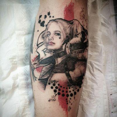 Trash polka Harley Quinn yesterday #trashpolka #trashpolkatattoo #harleyquinn #harleyquinntattoo #legsleeve