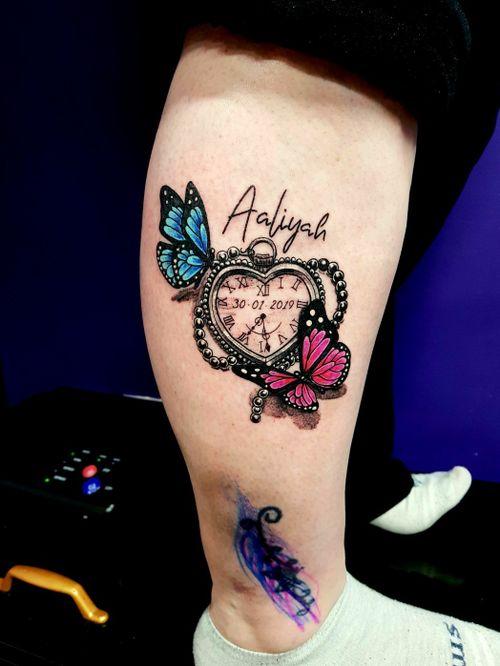 #girlswithtattoos #girlytattoos #girlytattoos #butterflytattoo #watchtattoo #timepiece #colortattoo