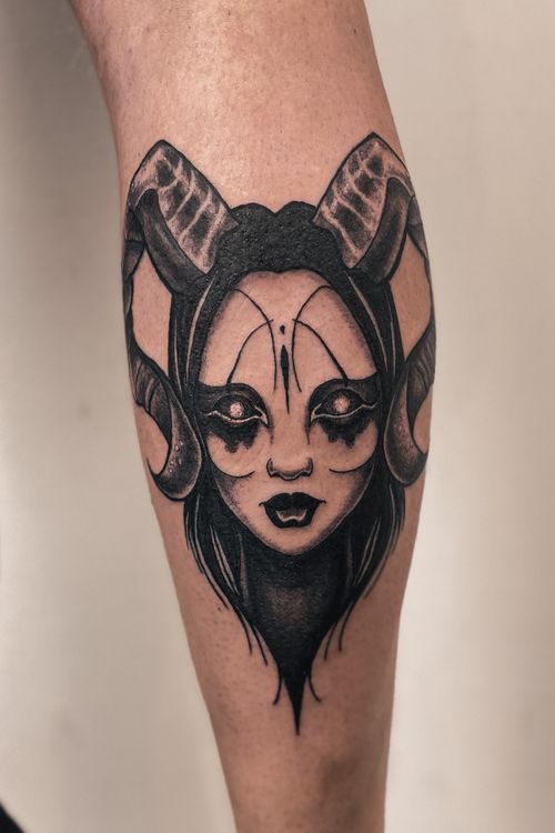 #witchtattoo #neotraditional #horns #ladyface