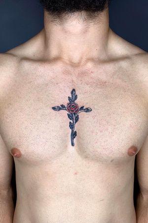 #rosetattoo #rose #cross #crosstattoo #chest #chesttattoo #red #redrose #blackwork #blacktattoo #black #richmond #richmondtattoo #melbourne #melbournetattoo #tattoo #melbournetattooist