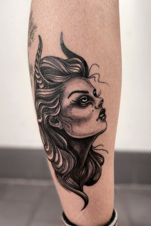 #witchtattoo #neotraditional #ladyface #horns