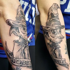 Dobby wearing Sorting Hat