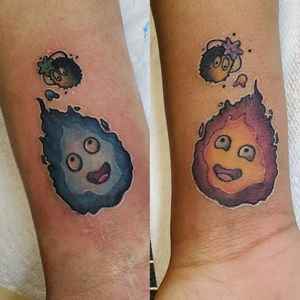 Calcifer and Soot friendship tattoos