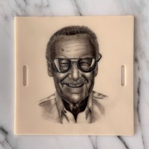 Stan Lee Micro Portrait #portrait #realism #stanlee #microtattoo #blackandgrey