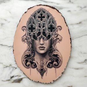 Large gothic tattoo #filigree #realistic #portrait #blackandgrey