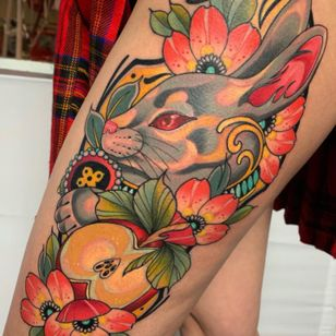 Rabbit tattoo by Kmilopride #Kmilopride #rabbit #bunny #apple #flower #neotraditional #color #nature #animal