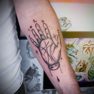 Palm reader tattoo  Trad blackwork