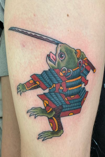 Samurai frog, upper leg, 3 hours #frog #frogtattoo #samurai #japanese #japanesetattoo #irezumi