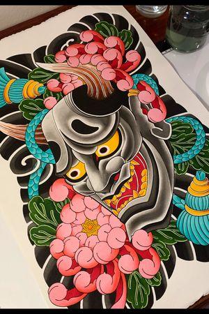 Hannya painting, designed for a full back or front. #hannya #hannyamask #chrysanthemum #backpiece #japanese #japanesetattoo #irezumi