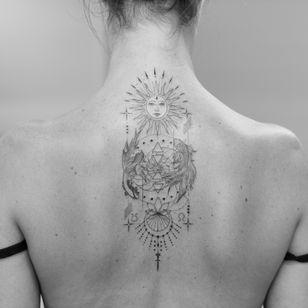 Fish tattoo by Bacht #bacht #fish #sun #moon #ornamental #fineline #illustrative