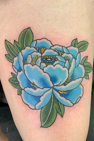 Blue peony, top of thigh, 2 hours #peony #peonytattoo #flower #floral japaneseflower #botan #japanese #japanesetattoo #irezumi