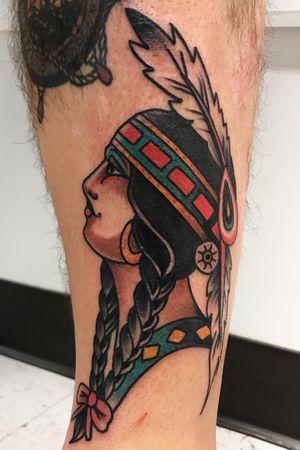Traditional native girl head