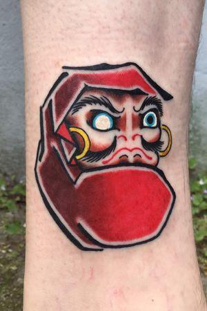 Daruma tattoo, ankle, 1.5 hours #daruma #dharma #bodhidharma #darumadoll #japanese #japanesetattoo #irezumi