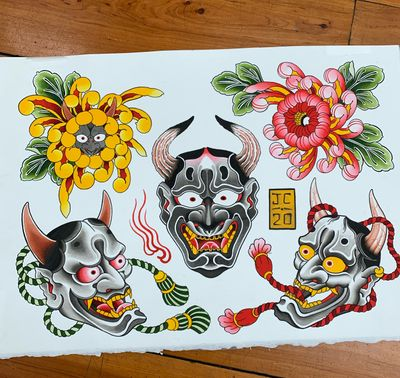 Hannya and chrysanthemums I would like to tattoo, ideally as one shot pieces #hannya #hannyamask #chrysanthemum #backpiece #japanese #japanesetattoo #irezumi