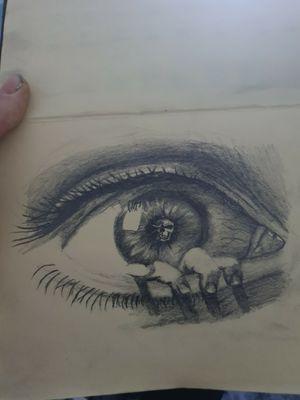 Skull eye hand horror