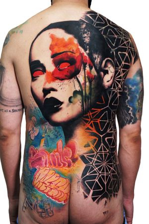 Collaboration with Jay on this tough half backpiece cover up. 12 hours, 2 artists, 2 days