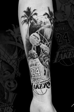 Instagram: @rusty_hst #kobe tattoo done on a client who flew all the way from France!  #blackandgrey #realism #blackandgreyrealism #kobetattoo
