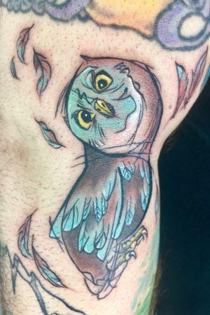 #owl #owltattoo #bird #birdtattoo #cartoonstyle #sketchy #sketchytattoo #cutetattoo
